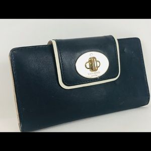 KATE SPADE Turnlock Stacy Hampton Navy Blue Wallet